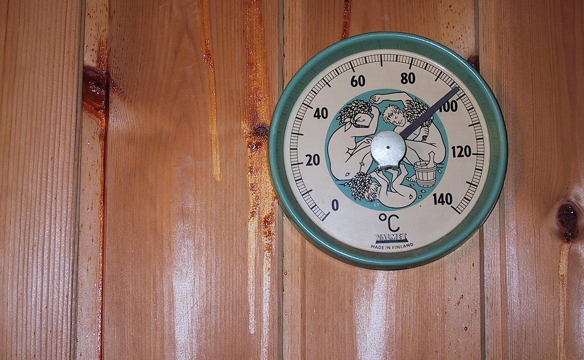 Ich hab ein Saunabild gesucht. Das hier stammt aus unserem Dänemark-Urlaub in 2001. Kuck Euch das Thermometer an. Ich bin baff. Weiterlesen, bitte!