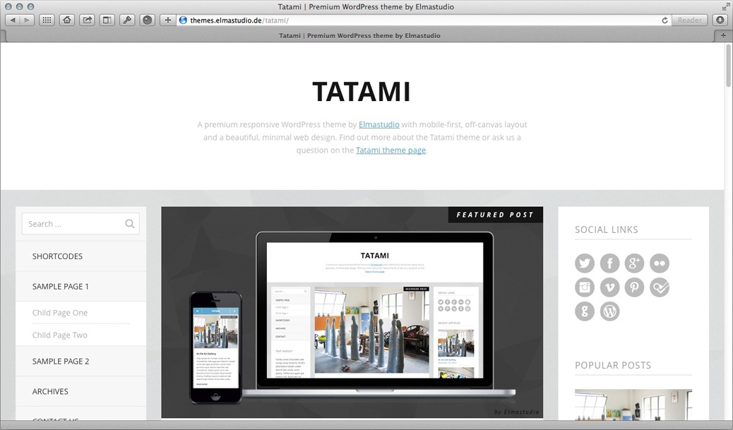 WordPress Theme - Tatami